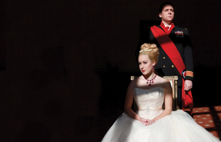 "Alaina Mills as Eva Perón and Chris Blem as Juan Perón in CCM's ""Evita."" Photography by Mark Lyons."