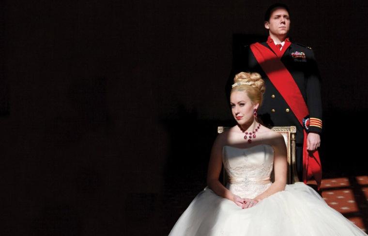 "Alaina Mills as Eva Perón and Chris Blem as Juan Perón in CCM's ""Evita."" Photography by Mark Lyons."