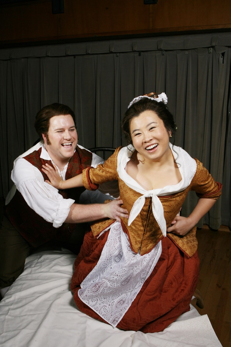 "Noel Bouley as Figaro and Xi Wang as Susanna in CCM's ""The Marriage of Figaro."""
