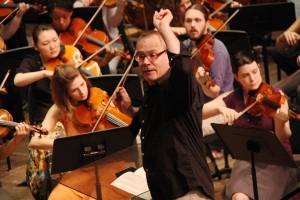Maestro Mark Gibson, leading the CCM Philharmonia through rehearsals.