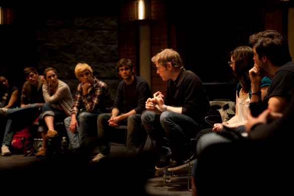 """Rent"" actor Anthony Rapp gives a master class for CCM's ""Rent"" cast members. Photography by Ashley Kempher."