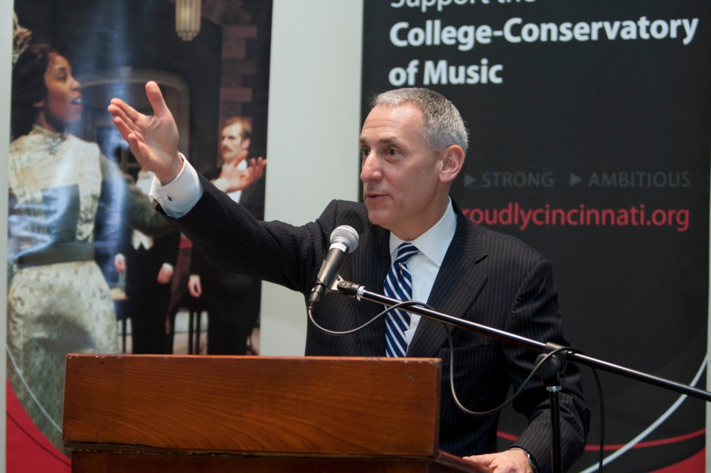 Ohio Board of Regents Chancellor Eric Fingerhut names CCM an Ohio Center of Excellence. Photography by Lisa Ventre, UC Photographic Services.