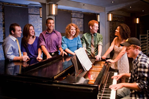 "The cast of ""Make Me a Song,"" featuring (from left to right) Julian Decker, Cassie Levine, Blaine Krauss, Victoria Cook, Max Chernin, Alysha Desloriex and Collin Kessler. Photography by Nicholas Robalino."