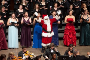 Santa Claus makes a surprise appearance at CCM's 2010 'Feast of Carols.' Photography by UC Photographic Services.