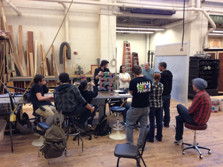 Associate Professor and Technical Director Stirling Shelton conducts class in CCM's 8,500 square foot scene shop. Photography by Michele Kay.