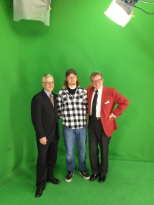 Dean Landgren, CCM senior Kyle Howland and Cincinnati Pops conductor John Morris Russell in E-Media's virtual studio.