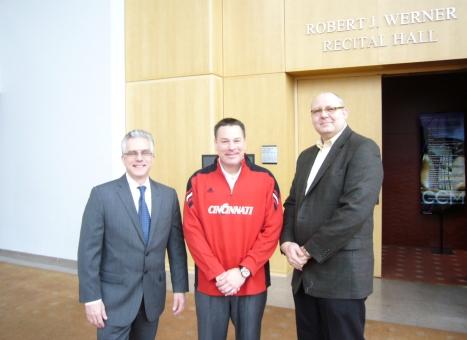 CCM Dean Peter Landgren, UC Head Football Coach Butch Jones and CCM Assistant Professor of Trombone Tim Anderson.