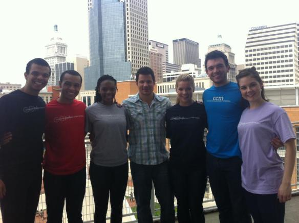 CCM Musical Theatre students (left to right) Blaine Kraus, Noah Rickets, Kimber Sprawl, Stephanie Cain, Max Clayton and Catherine Helm joined Nick Lachey for a promotional video shoot in April 2012.
