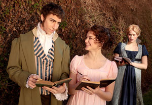 Zach Crowley as Septimus Hodge, Sarah Vargo as Thomasina Coverly and Ellie Jameson as Lady Croom in CCM's Mainstage production of 'Arcadia.'