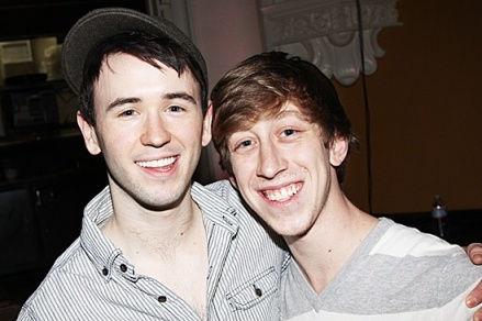 Left to right: CCM Musical Theatre Alumni Garrett Hawe and Ryan Breslin at a Newsies rehearsal.