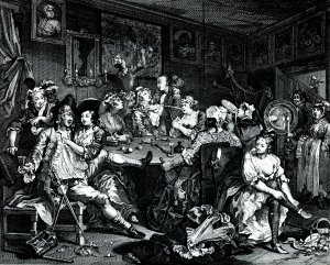 """The third plate from William Hogarth's """"A Rake's Progress"""" depicts Tom Rakewell at the Rose Tavern."""
