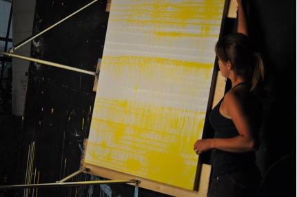 Amy Shackleton, gravity artist, beginning her original piece of art for 'A Midsummer Night's Dream.'