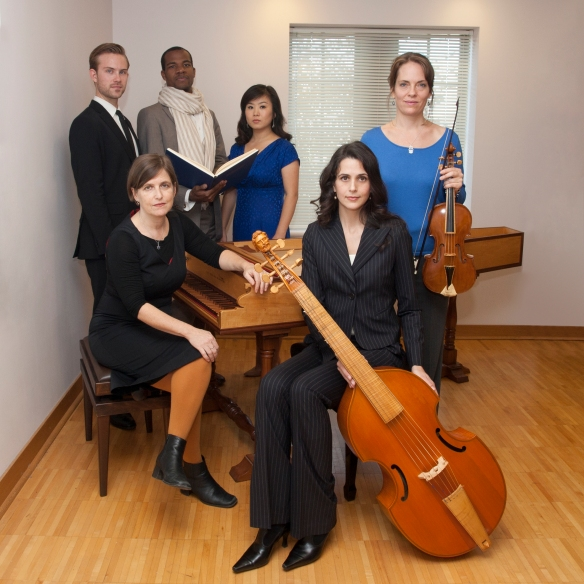 From left-to-right: Vivian Montgomery, harpsichord; vocalists: James Onstad, Derrell Acon and Xi Wang; Jennifer Roig-Francoli, Baroque violin; and Annalisa Pappano, viola da gamba. Photography by Dottie Stover.