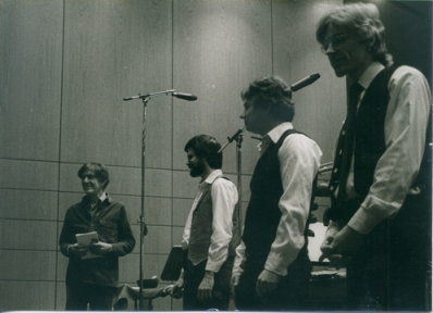 Percussion Group Cincinnati with John Cage (far left) in Witten, Germany, 1983. Photo courtesy of Allen Otte.