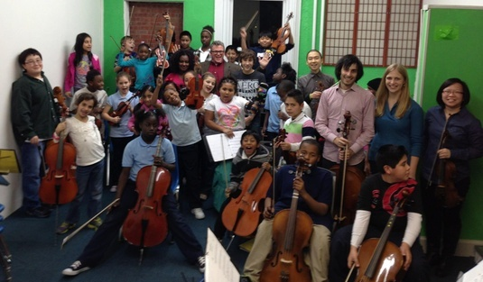 Participants from the Music for Youth in Cincinnati's (MYCincinnati's) free youth orchestra program in Price Hill.