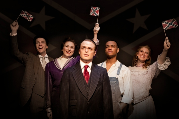 The Carnegie presents 'Parade' april 5 - 21, featuring Collin Kessler (front), Matt Hill, Jenny Hickman, Noah Ricketts and Alison Bagli (rear, L to R). Photography by Matt Steffen.