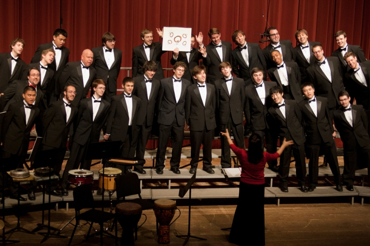 The UC Men's Chorus performing at the 2012 Feast of Carols. Photography by Dottie Stover.