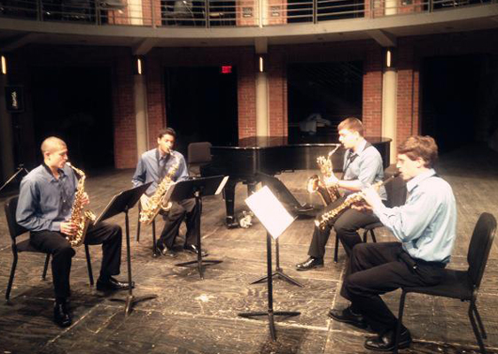Comprised of CCM graduate saxophone students, the Promethean Saxophone Quartet competes in the Coleman Chamber Music Ensemble Competition Finals on April 27, 2013.