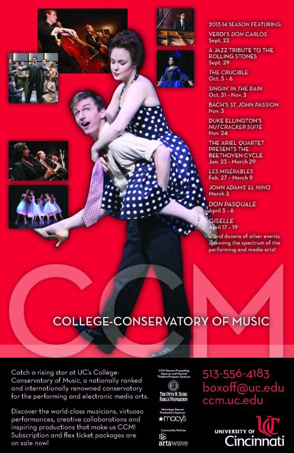 "CCM presents a ""must-see"" series of performing arts events in 2013-14. Subscription and flex ticket packages are on sale now!"