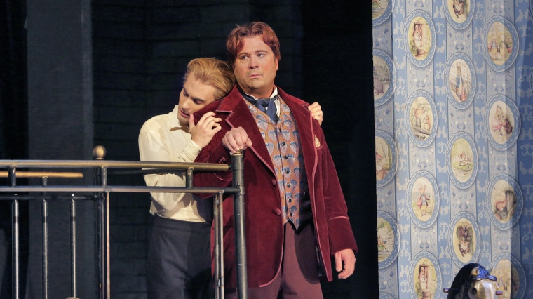 Countertenor David Daniels (right) and dancer Reed Luplau in the Santa Fe Opera's world-premiere production of Oscar, based on the life of Oscar Wilde.