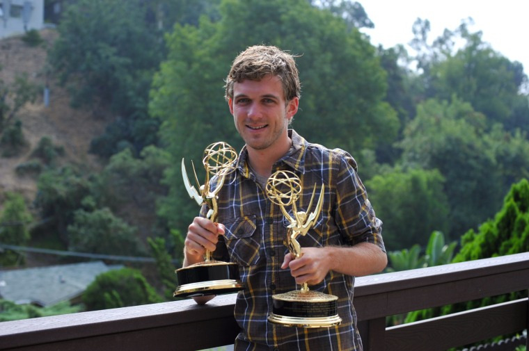 CCM Alumnus Travis Hagenbuch with the first two Emmys he won.