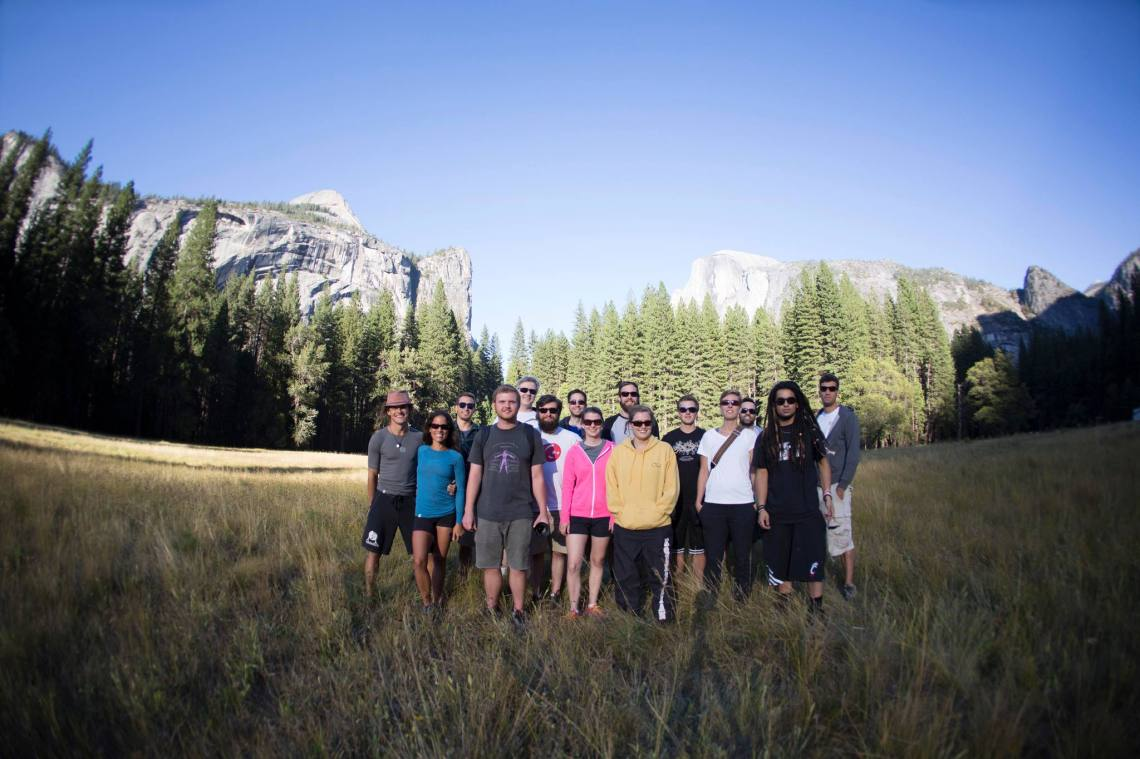 The 2013 UC Gold Rush team at Half Dome in Yosemite National Park.
