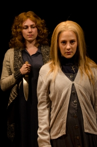 From left to right: Jennifer Hickman is Margaret White and Hannah Freeman is Carrie White in CCM's Studio Series production of 'Carrie: The Musical.' Photography by senior Lighting Design major David Seitz.