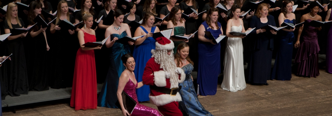 Santa Claus makes a guest appearance at the 2012 Feast of Carols. Photography by Dottie Stover.
