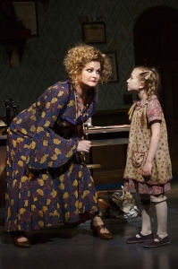 Distinguished alumna Faith Prince listens to Emily Rosenfeld in the Broadway revival of 'Annie.'