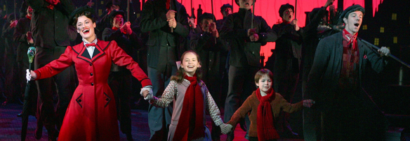 CCM alumna Ashley Brown (far left) as Mary Poppins on Broadway.