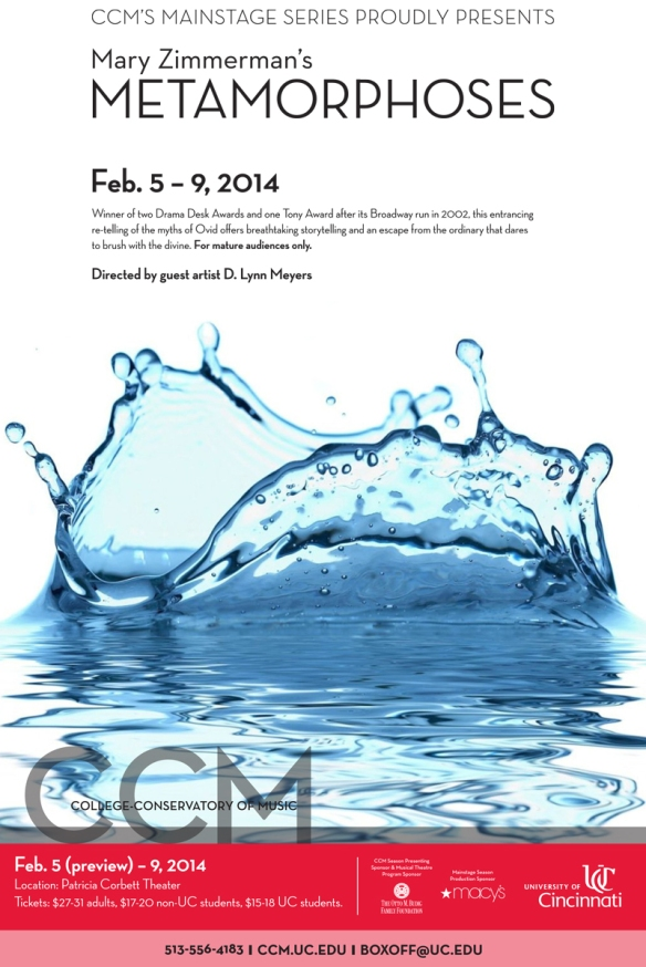 CCM presents Mary Zimmerman's METAMORPHOSES Feb. 5 - 9, 2014.