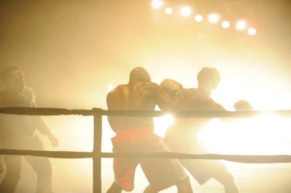"""A scene in the ring from the musical """"Rocky."""""""