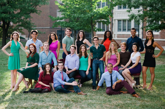 CCM Musical Theatre's Class of 2014: (top row) Katie Wesler, Jordan DeLeon, Adrienne Tang, Max Clayton, Jennifer Hickman, Kimber Sprawl, Blaine Krauss, Stephanie Park (middle row) Emily Schexnaydre, Julian Decker, Matt Hill, Catherine Helm, Dane Becker, Stephanie Cain, Collin Kessler, Erica Vlahinos (bottom row) Hannah Freeman, Connor Deane, Noah Ricketts.