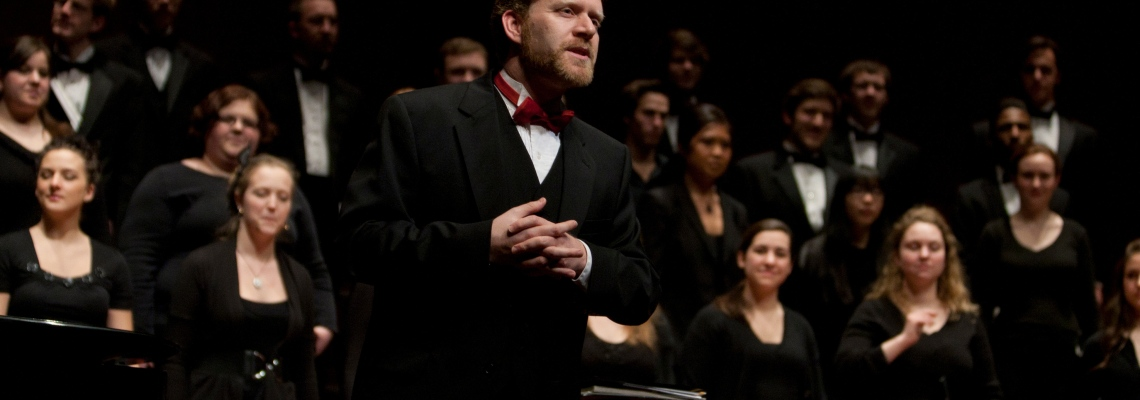 L. Brett Scott leading CCM's Chorale at the 2012 Moveable Feast gala event.
