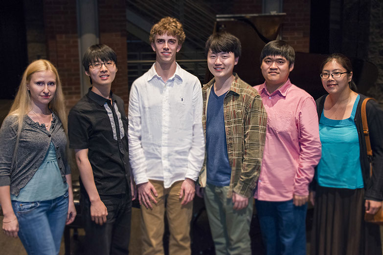 The World Piano Competition's 2014 Semifinalists: Anastasiya Naplekova, Sung-Soo Cho, Reed Tetzloff, Feng Bian, Moye Chen and Sangyoung Kim.