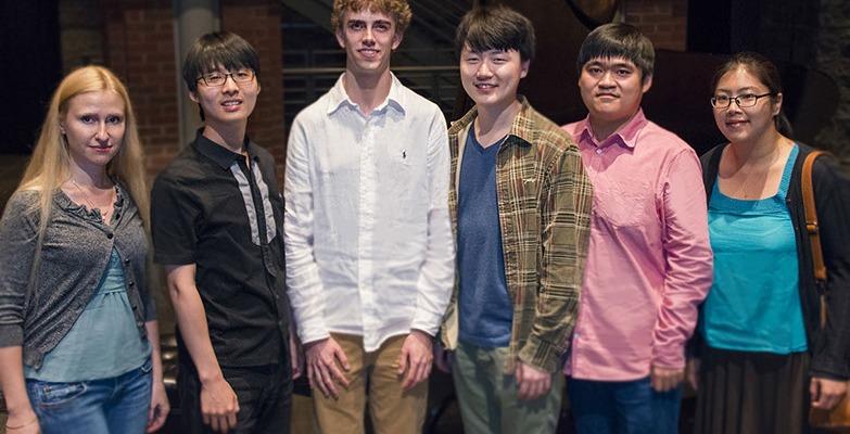 The World Piano Competition's 2014 Semifinalists: Anastasiya Naplekova, Sung-Soo Cho, Reed Tetzloff, Feng Bian, Moye Chen and Sangyoung Kim.