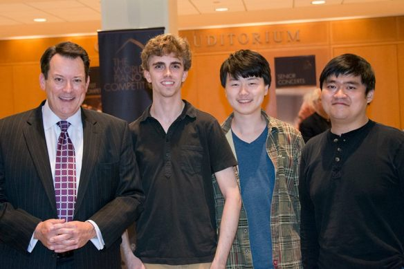 From left to right, WPC Executive Director Mark Ernster with this year's finalists: Reed Tetzloff, Feng Bian and Moye Chen.