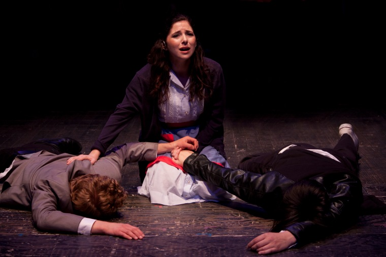 From left to right: Karl Amundson, Hannah Kornfeld and Thomas Knapp in CCM's Studio Series production of BLOOD BROTHERS, running Oct. 9 - 11 in the Cohen Family Studio Theater. Photography by Adam Zeek.