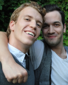 Karl Amundson as Eddie and Thomas Knapp as Mickey in CCM's Studio Series production of BLOOD BROTHERS, playing Oct. 9 - 11 in the Cohen Family Studio Theater.