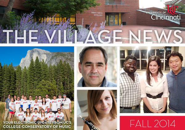 Masthead for Fall 2014 issue of THE VILLAGE NEWS.