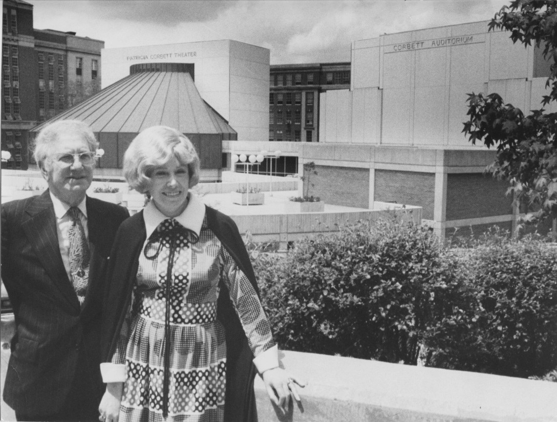 J. Ralph and Patricia A. Corbett overlooking CCM Village in May of 1972.