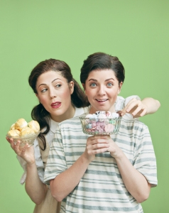 Talya Lieberman as Gretel and Adria Caffaro as Hansel. Photography by Mark Lyons.