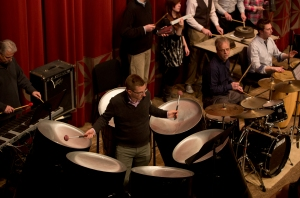 CCM's Steel Drum Band, performing at the annual Moveable Feast event; directed by Professor Russell Burge. Photography by Dottie Stover.