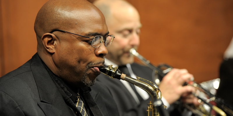 From left to right, CCM Jazz faculty members Craig Bailey and Scott Belck. Photography by Andrew Higley.