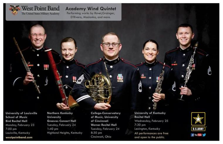 The West Point Band's Academy Wind Quintet, featuring CCM alumna Natalie Wren (fourth from left) comes to CCM Village for a free performance on Feb. 24, 2015.