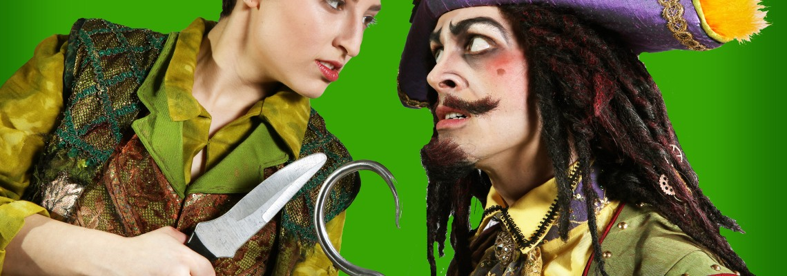 Hannah Zazzaro as Peter Pan and Nathaniel Irvin as Captain Hook in CCM's Mainstage Series production of 'Peter Pan.' Photography by Mark Lyons.