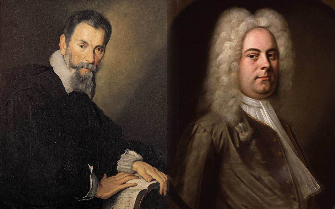 Paintings of Monteverdi and Handel.
