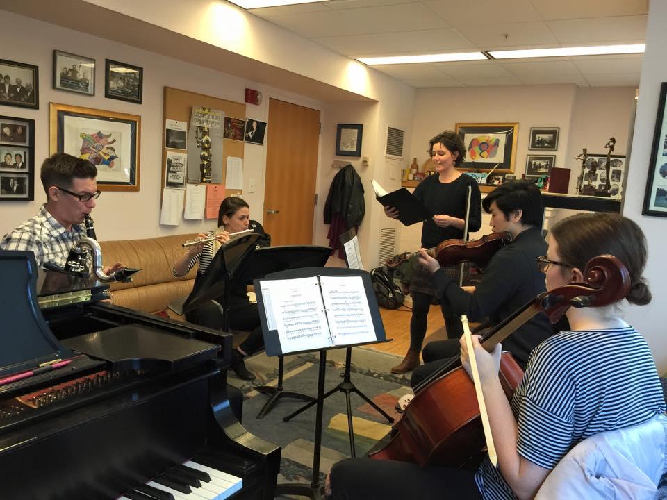 CCM students Jillian McGreen, Matthew Umphreys, Nave Graham, Michael Arbulu, Walter Park and Amy Pirtle rehearse Schoenberg's 'Pierrot Lunaire.'