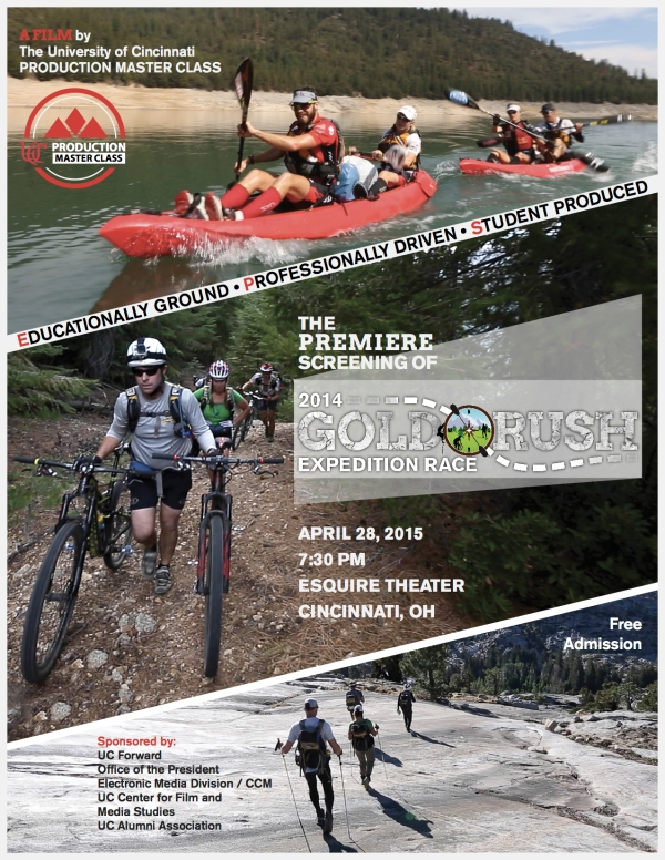 Join us at Cincinnati's Esquire Theatre on April 28 for a premiere screening of the 2014 'Gold Rush Expedition Race' documentary film.