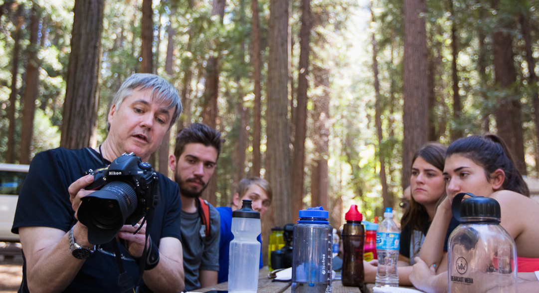 CCM Professor Kevin Burke and members of the 2014 UC Gold Rush documentary team. Photo by Kaori Funahashi.